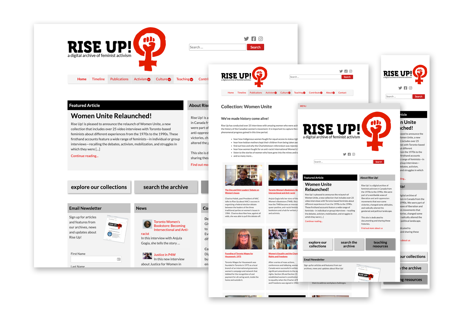 Display of the Rise Up website in various formats