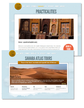 A sample of the Sahara Atlas Tours site